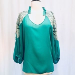 Tops - Jade Blouse with Embroidery Sleeves